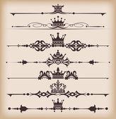 Vector set. Victorian Scrolls and crown. — Stock Vector