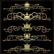 Stock Vector: Vector set. VictoriScrolls and crown. Gold decorative elements.