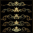 Vector set. Victorian Scrolls and crown. Gold decorative elements. - Векторная иллюстрация