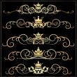 Vector set. Victorian Scrolls and crown. Gold decorative elements. - Stockvektor