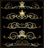 Vector set. Victorian Scrolls and crown. Gold decorative elements. — Stock Vector