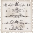 Vector set. Victorian Scrolls and crown for your design. Decorative Dividers. - Stock Vector