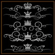 Stock Vector: VictoriScrolls and crown. Decorative elements on black background