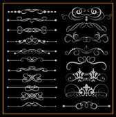 Victorian Scrolls and crown. Decorative elements on a black background — Stock Vector