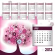 Stock Vector: 2013 Calendar. July.