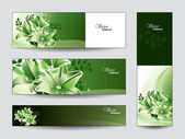 Vector Banners with Lily Flowers. — Cтоковый вектор