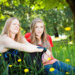 Mother and daughter in summer nature — Stock Photo