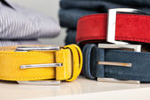 Display of man belts in a shop — Foto de Stock