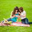 Two women in the park on a picnic and Tablet PC — Stock Photo #15447503