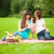 Royalty-Free Stock Photo: Two women in the park on a picnic and Tablet PC