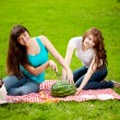 Two women on a picnic with watermelon — Stockfoto