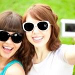 Photo session two women outdoors — Stock Photo