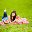 Stock Photo: Woman with juicy watermelon in hands