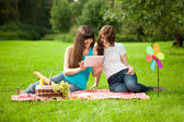 Two women in the park on a picnic and Tablet PC — Stok fotoğraf