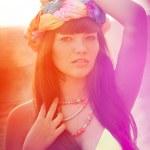 Luxurious beautiful fashionable woman on the beach — Stock Photo #15450759