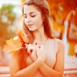 Stock Photo: Autumn woman.