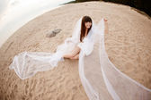 Beautiful bride with a long veil on the beach at sunset — Stok fotoğraf