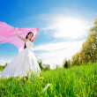 Bride on a field — Stock Photo