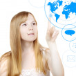 Stock Photo: Woman and touch screen interface