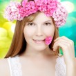 Beauty woman face with flowers — Stock Photo