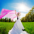 Bride on a field in the sunshine — Stock Photo #27075723