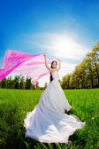 Bride on a field in the sunshine — Stock fotografie
