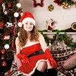 Beautiful christmas woman — Stok fotoğraf