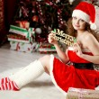 Beautiful christmas woman — Stock fotografie