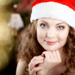 Beautiful christmas woman — Stockfoto