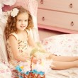 Little cute easer girl with bunny — Stock Photo #27082645