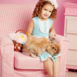 Little cute easer girl  with bunny — Stock Photo