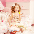 Little cute easer girl  with bunny — Stockfoto