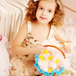 Little cute easer girl with bunny — Stock Photo #27082657