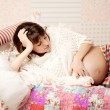 Beautiful pregnant woman in nice room — Stock Photo