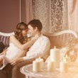 Happy couple in love at home — Stock Photo