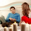 Two lovers quarrel at home — Stock Photo