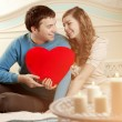 Happy couple in love at home — Stok fotoğraf