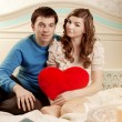 Happy couple in love at home — Stockfoto