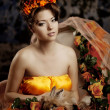 Luxury lady in silk dress — Stockfoto