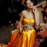 Luxury lady in silk dress — Stock Photo #27083949