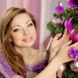 Stock Photo: Luxury christmas woman in fashion interior