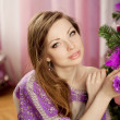 Fashion christmas woman in luxury interior — Stockfoto