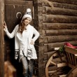 Smiling woman in the village barn — Foto de Stock
