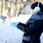 Young woman feeding winter birds — Stock Photo #27085659
