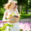 Woman with a basket of fruit in hand — Stock Photo #27086877