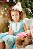 Little cute сhristmas girl with bunny — Stockfoto