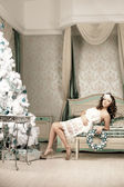 Fashion woman in luxury interior — Stock Photo