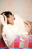 Beautiful cute pregnant woman indoors — Stock Photo