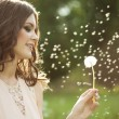Beautiful woman blowing a dandelion — Stock Photo #31004979