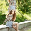 Beautiful young twins outdoors  — Stock Photo